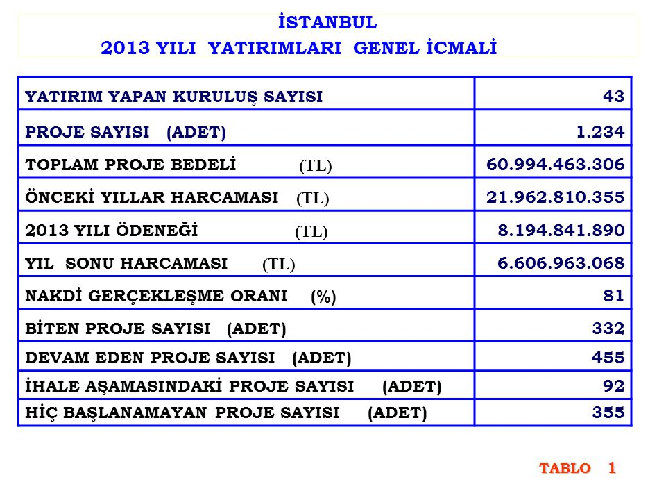 İSTANBUL 2013 YILI YATIRIMLARI GENEL İCMALİ