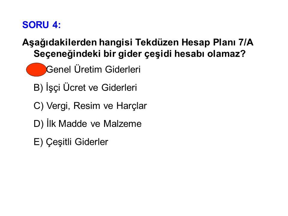 SORU 4: Aşağıdakilerden hangisi Tekdüzen Hesap Planı 7/A Seçeneğindeki bir gider çeşidi hesabı olamaz