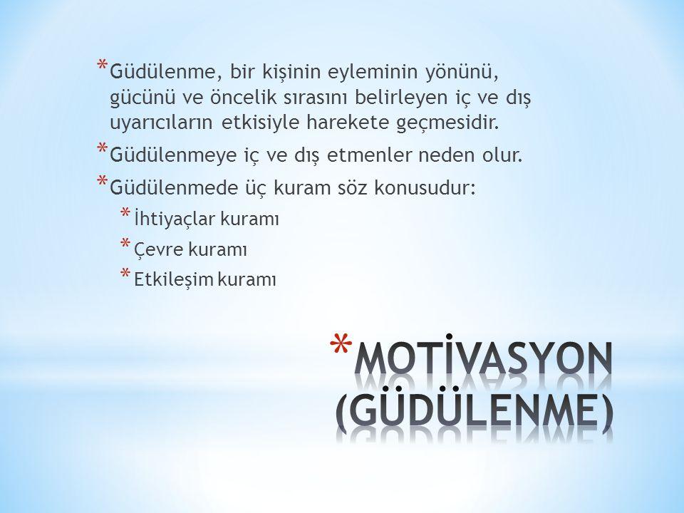 MOTİVASYON (GÜDÜLENME)