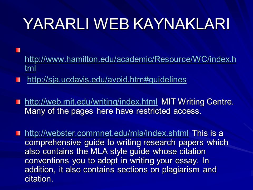 YARARLI WEB KAYNAKLARI