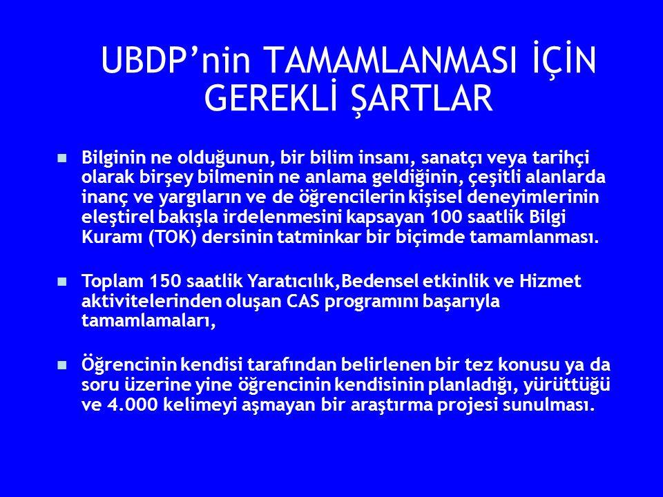 UBDP'nin TAMAMLANMASI İÇİN GEREKLİ ŞARTLAR