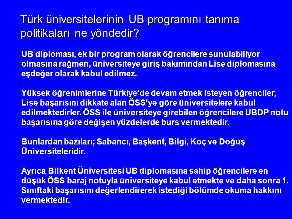 Türk üniversitelerinin UB programını tanıma politikaları ne yöndedir