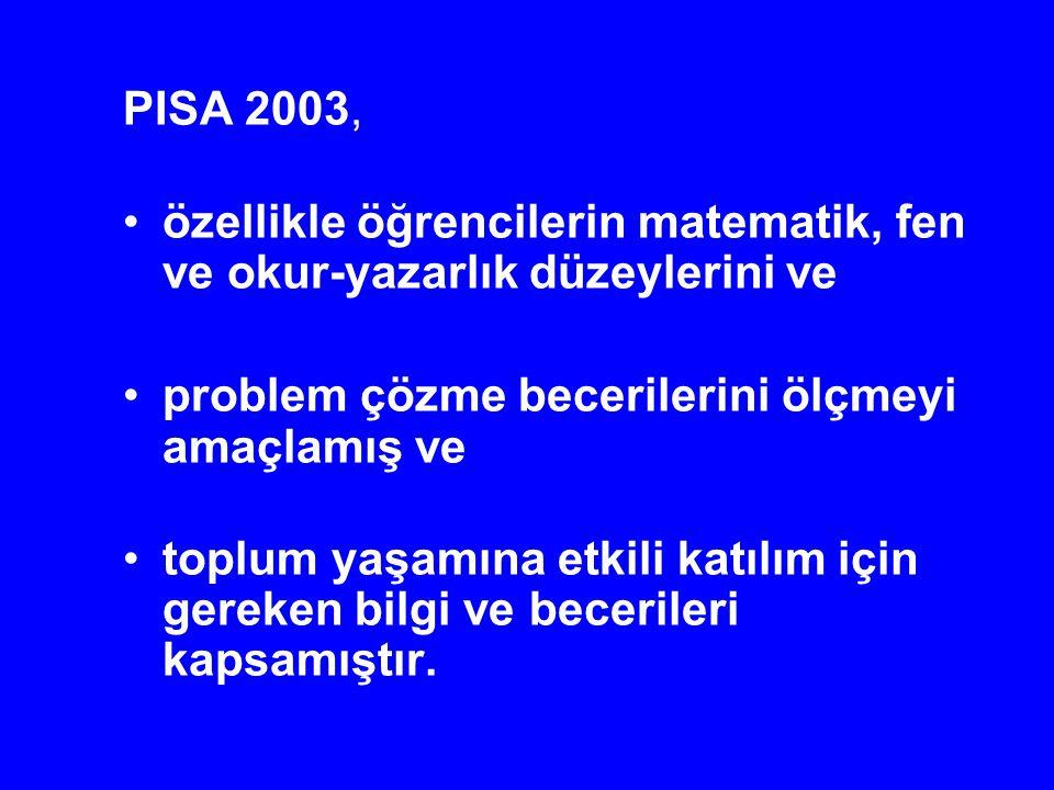 PISA 2003, özellikle öğrencilerin matematik, fen ve okur-yazarlık düzeylerini ve. problem çözme becerilerini ölçmeyi amaçlamış ve.