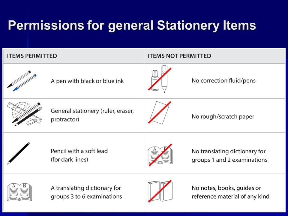 Permissions for general Stationery Items