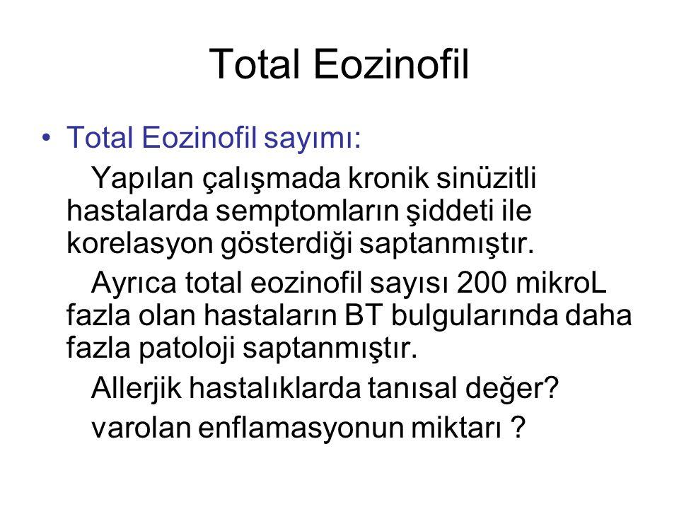 Total Eozinofil Total Eozinofil sayımı: