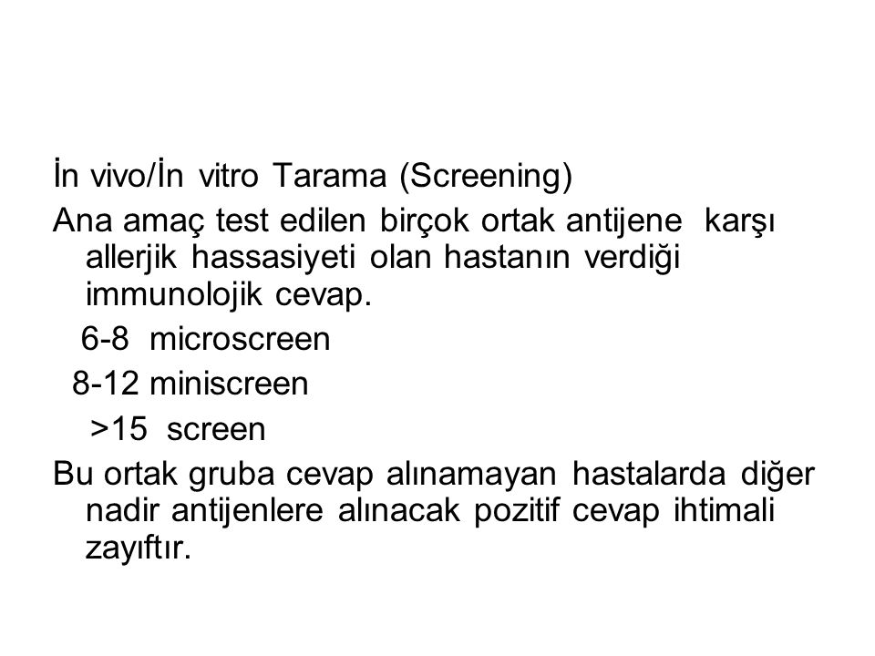 İn vivo/İn vitro Tarama (Screening)