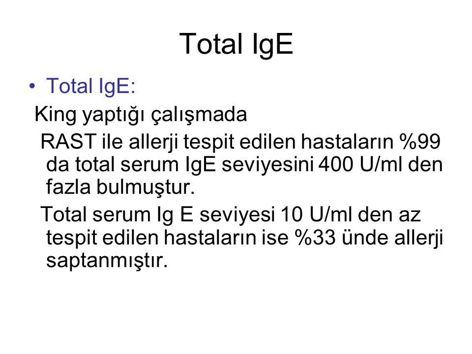 Total IgE Total IgE: King yaptığı çalışmada