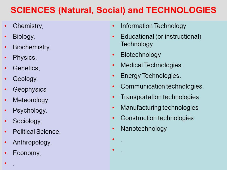 SCIENCES (Natural, Social) and TECHNOLOGIES