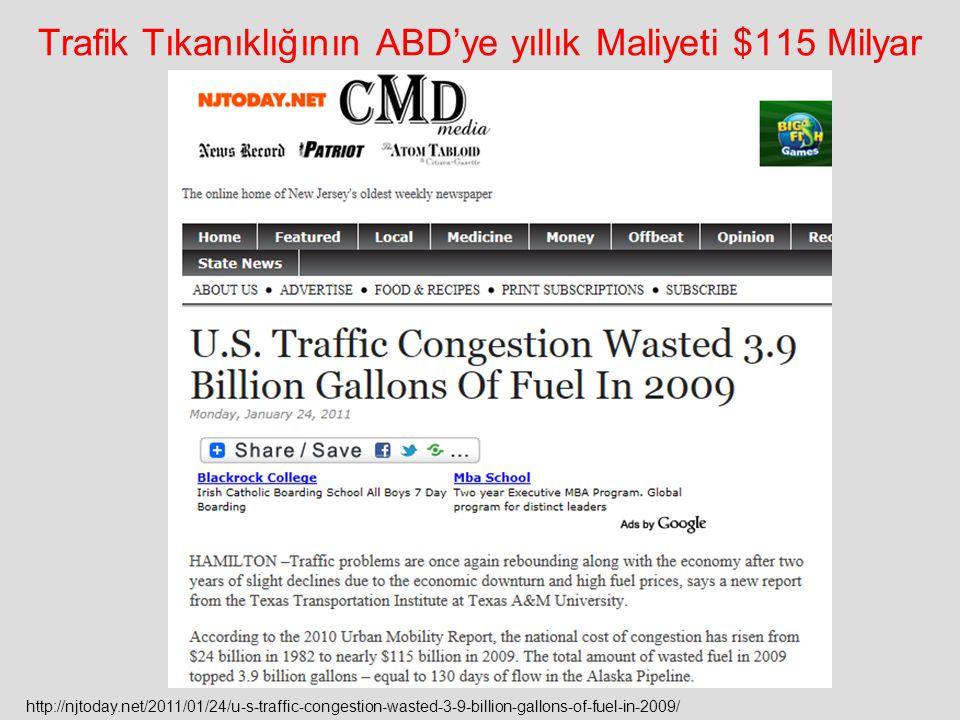 Trafik Tıkanıklığının ABD'ye yıllık Maliyeti $115 Milyar