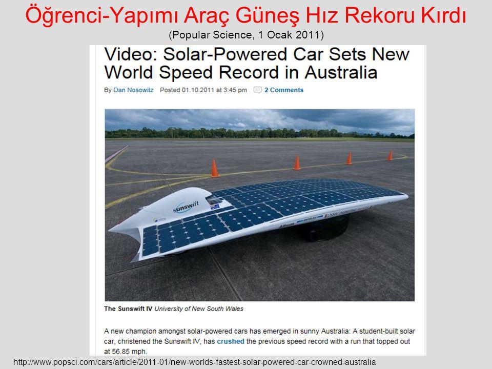 Öğrenci-Yapımı Araç Güneş Hız Rekoru Kırdı (Popular Science, 1 Ocak 2011)