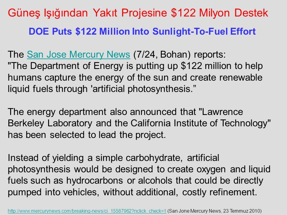 Güneş Işığından Yakıt Projesine $122 Milyon Destek