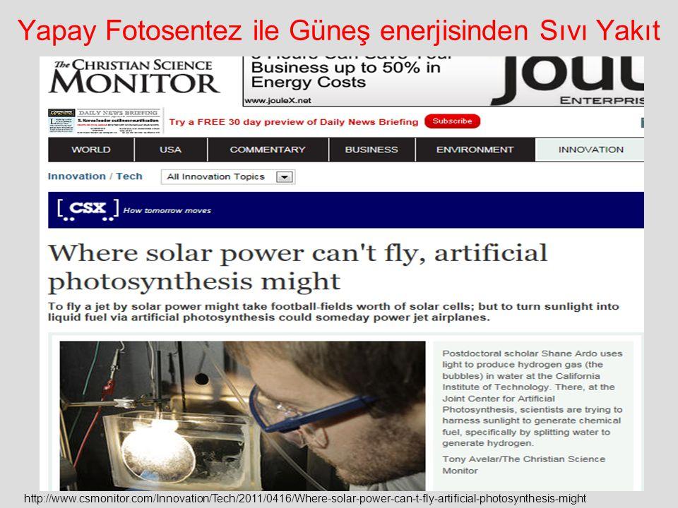 Yapay Fotosentez ile Güneş enerjisinden Sıvı Yakıt