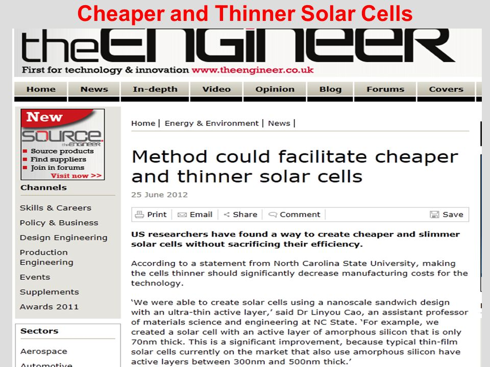 Cheaper and Thinner Solar Cells