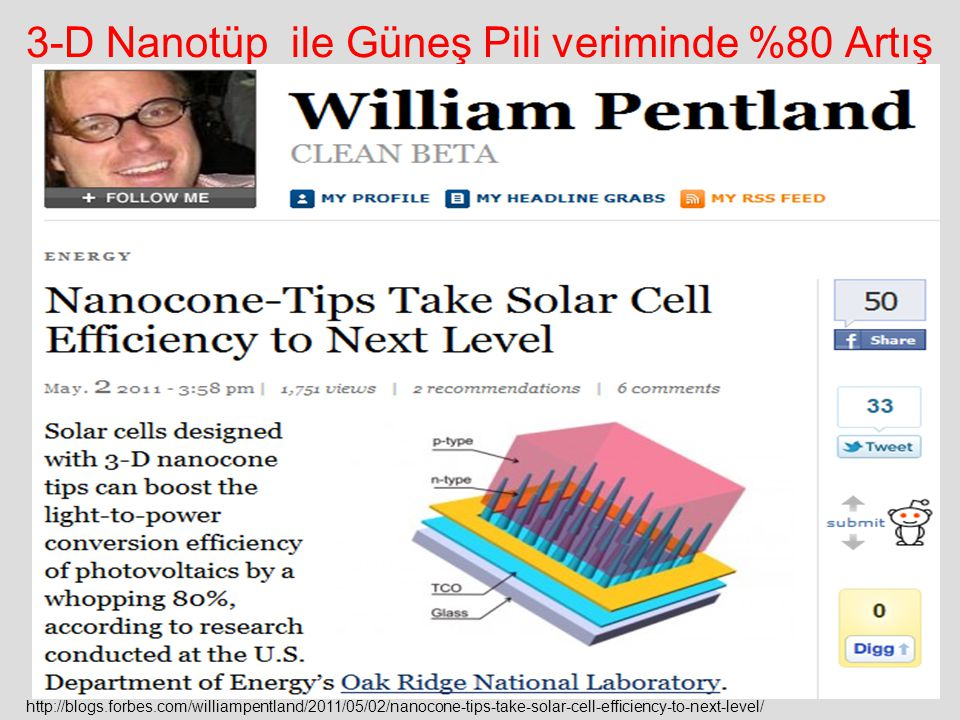 3-D Nanotüp ile Güneş Pili veriminde %80 Artış