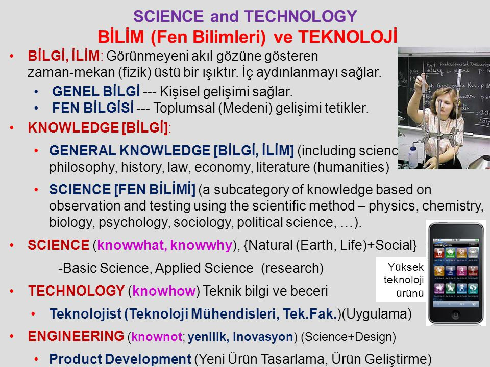 SCIENCE and TECHNOLOGY BİLİM (Fen Bilimleri) ve TEKNOLOJİ