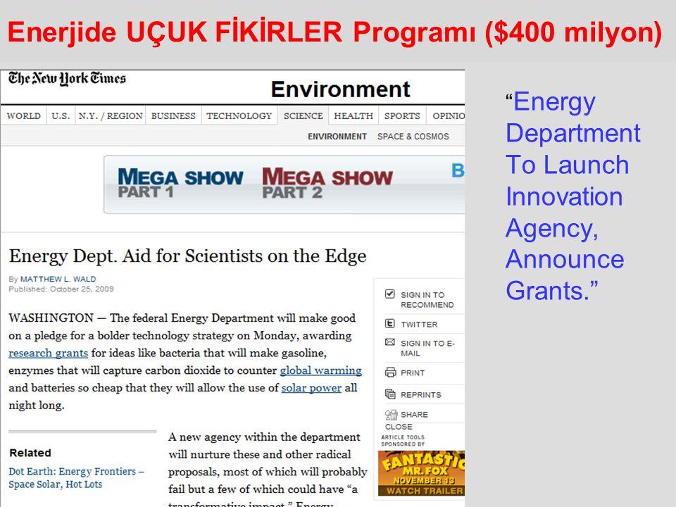 Enerjide UÇUK FİKİRLER Programı ($400 milyon)