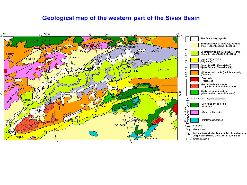 Geological map of the western part of the Sivas Basin
