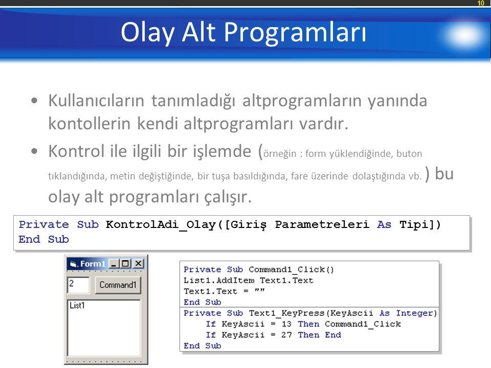 Olay Alt Programları Kullanıcıların tanımladığı altprogramların yanında kontollerin kendi altprogramları vardır.