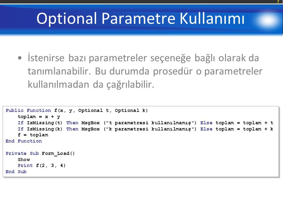 Optional Parametre Kullanımı