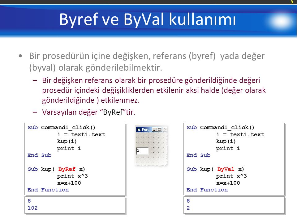 Byref ve ByVal kullanımı