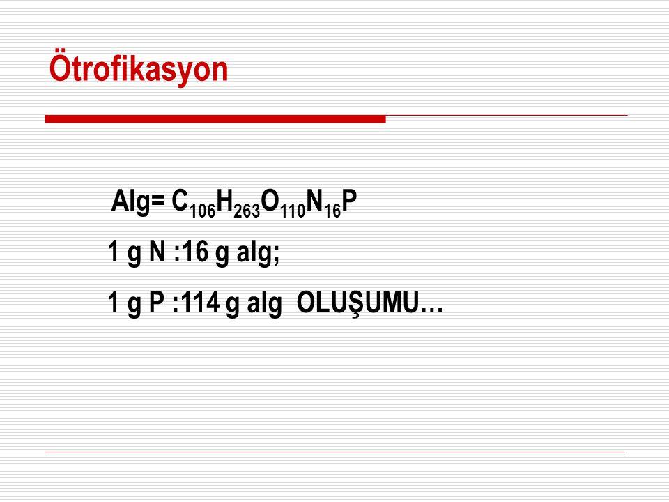 Ötrofikasyon Alg= C106H263O110N16P 1 g N :16 g alg;