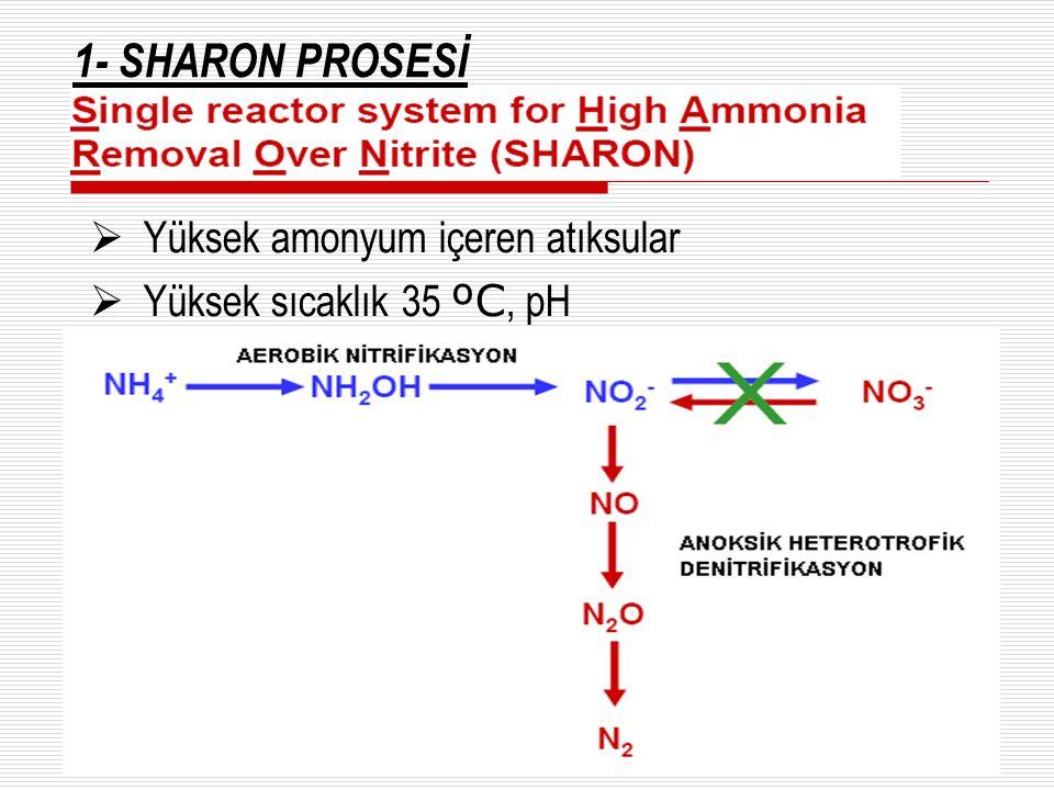 1- SHARON PROSESİ Yüksek amonyum içeren atıksular