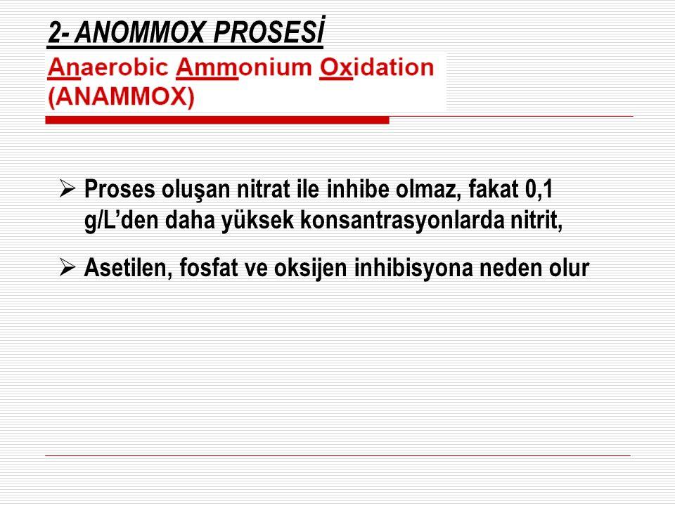 2- ANOMMOX PROSESİ Proses oluşan nitrat ile inhibe olmaz, fakat 0,1 g/L'den daha yüksek konsantrasyonlarda nitrit,