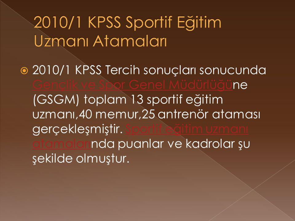 2010/1 KPSS Sportif Eğitim Uzmanı Atamaları