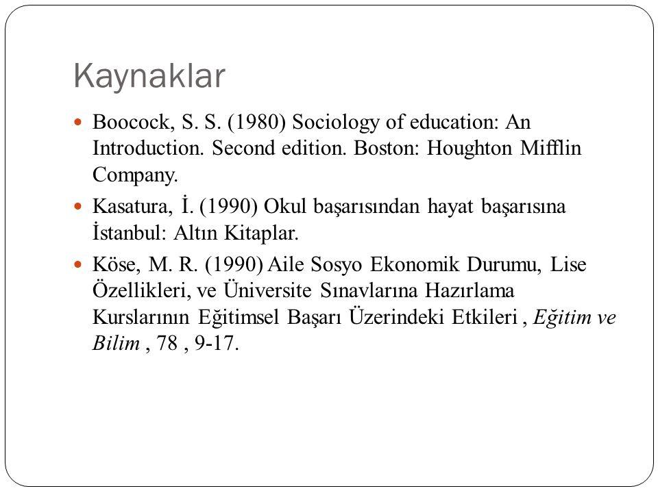 Kaynaklar Boocock, S. S. (1980) Sociology of education: An Introduction. Second edition. Boston: Houghton Mifflin Company.