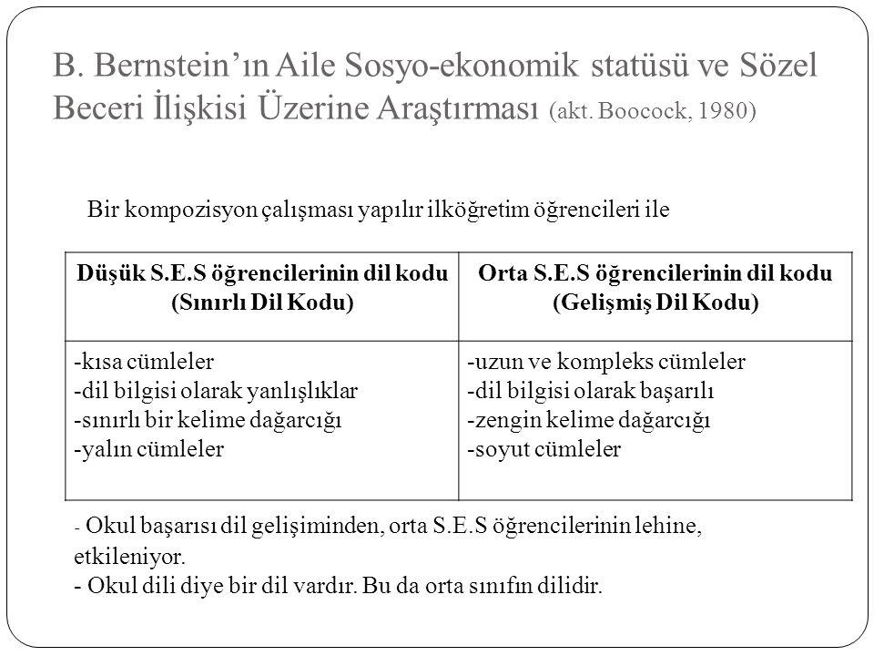 B. Bernstein'ın Aile Sosyo-ekonomik statüsü ve Sözel Beceri İlişkisi Üzerine Araştırması (akt. Boocock, 1980)