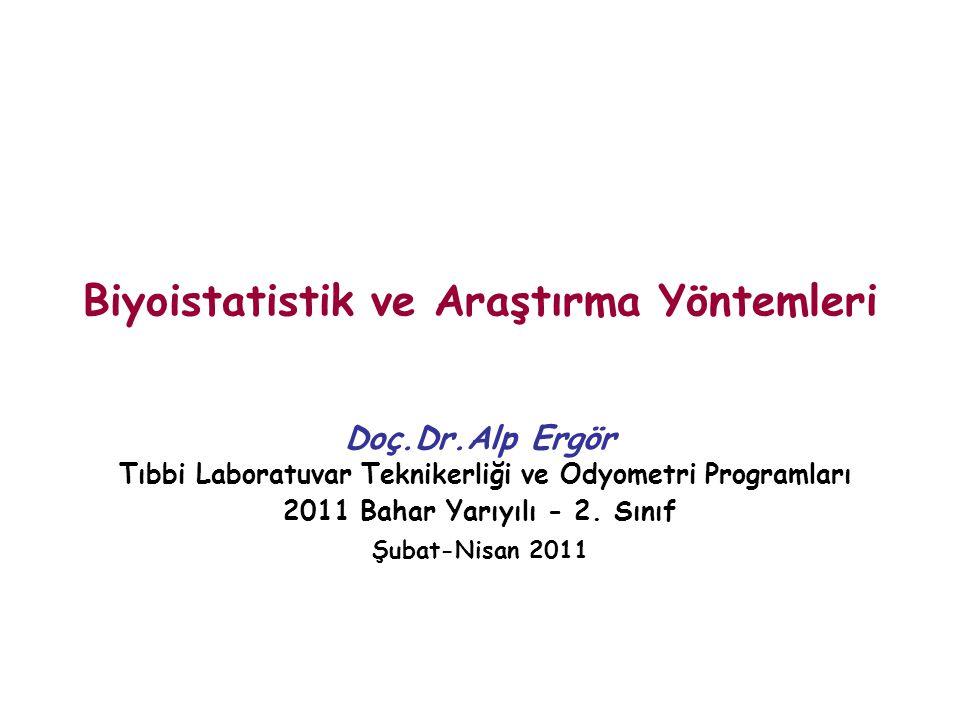 Biyoistatistik ve Araştırma Yöntemleri