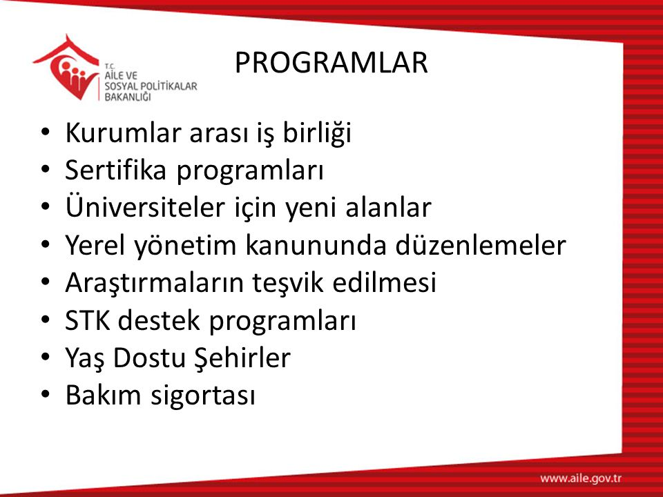 PROGRAMLAR Kurumlar arası iş birliği Sertifika programları