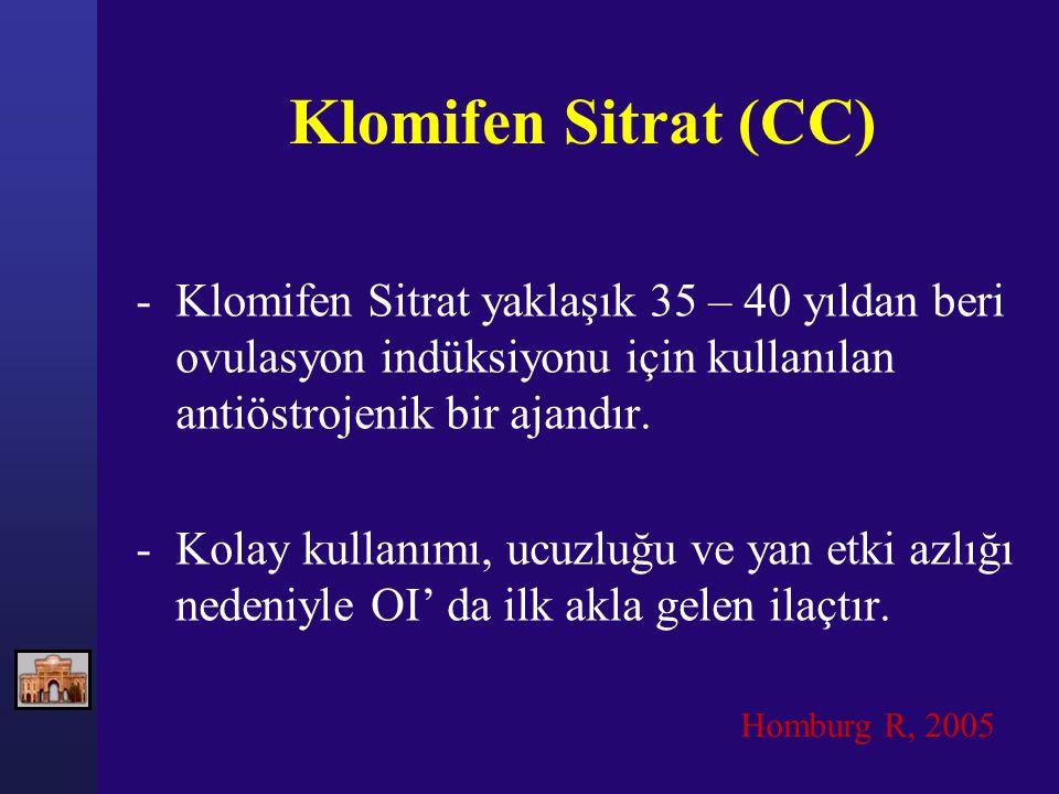 Klomifen Sitrat (CC) Klomifen Sitrat yaklaşık 35 – 40 yıldan beri ovulasyon indüksiyonu için kullanılan antiöstrojenik bir ajandır.