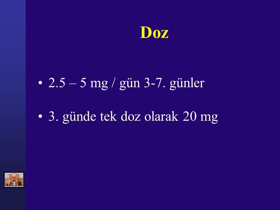 Doz 2.5 – 5 mg / gün 3-7. günler 3. günde tek doz olarak 20 mg