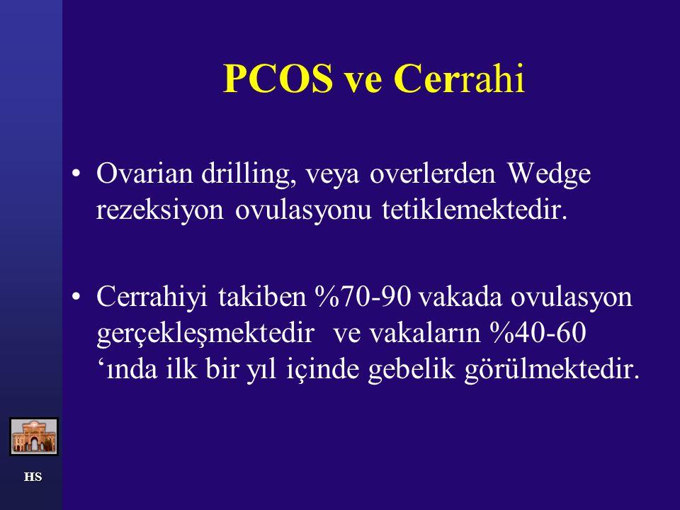 PCOS ve Cerrahi Ovarian drilling, veya overlerden Wedge rezeksiyon ovulasyonu tetiklemektedir.