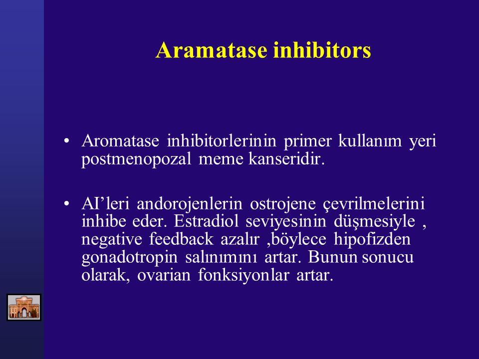 Aramatase inhibitors Aromatase inhibitorlerinin primer kullanım yeri postmenopozal meme kanseridir.