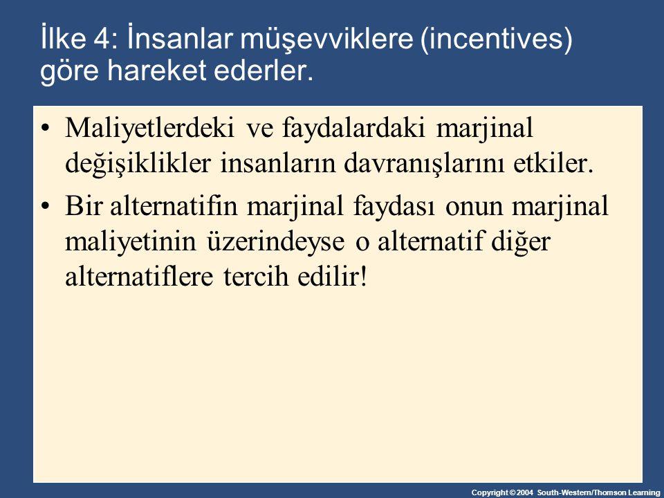 İlke 4: İnsanlar müşevviklere (incentives) göre hareket ederler.
