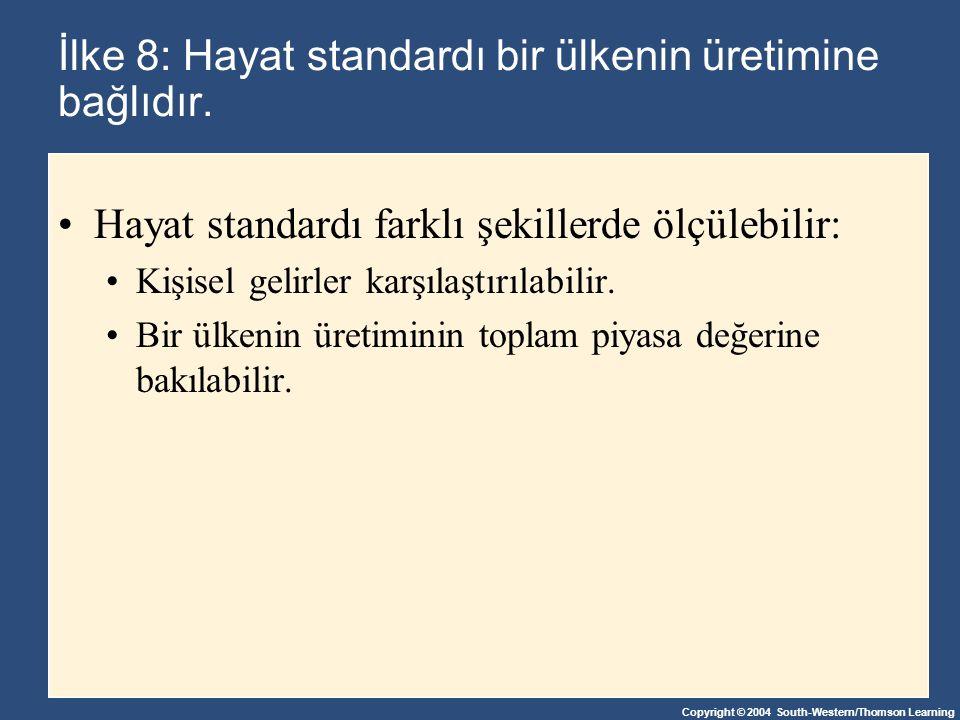 İlke 8: Hayat standardı bir ülkenin üretimine bağlıdır.