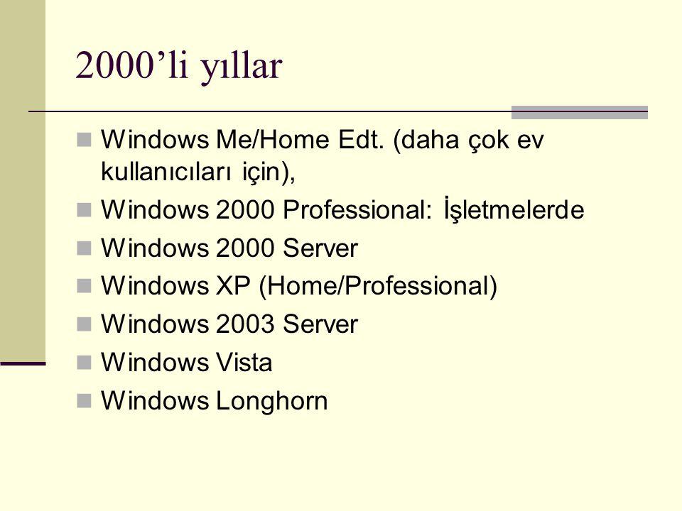 2000'li yıllar Windows Me/Home Edt. (daha çok ev kullanıcıları için),