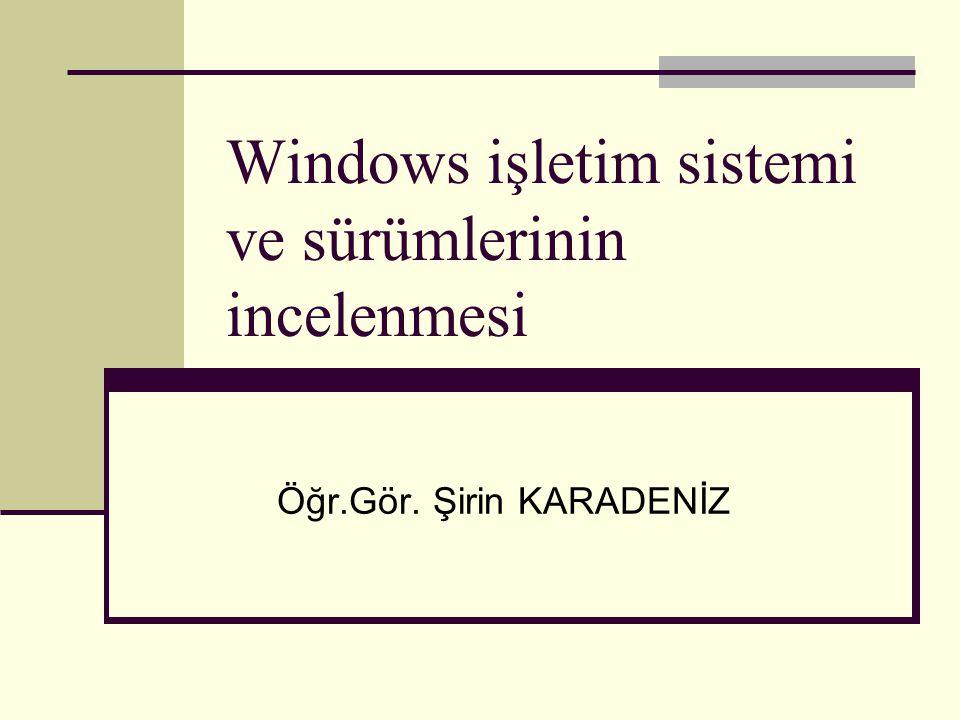Windows işletim sistemi ve sürümlerinin incelenmesi