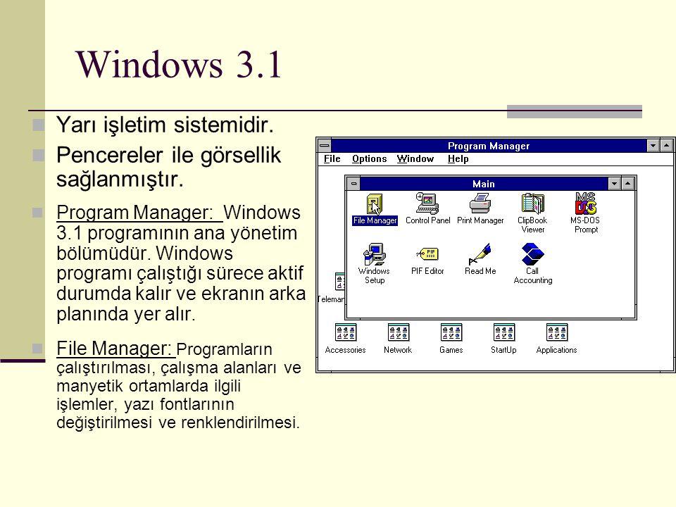 Windows 3.1 Yarı işletim sistemidir.