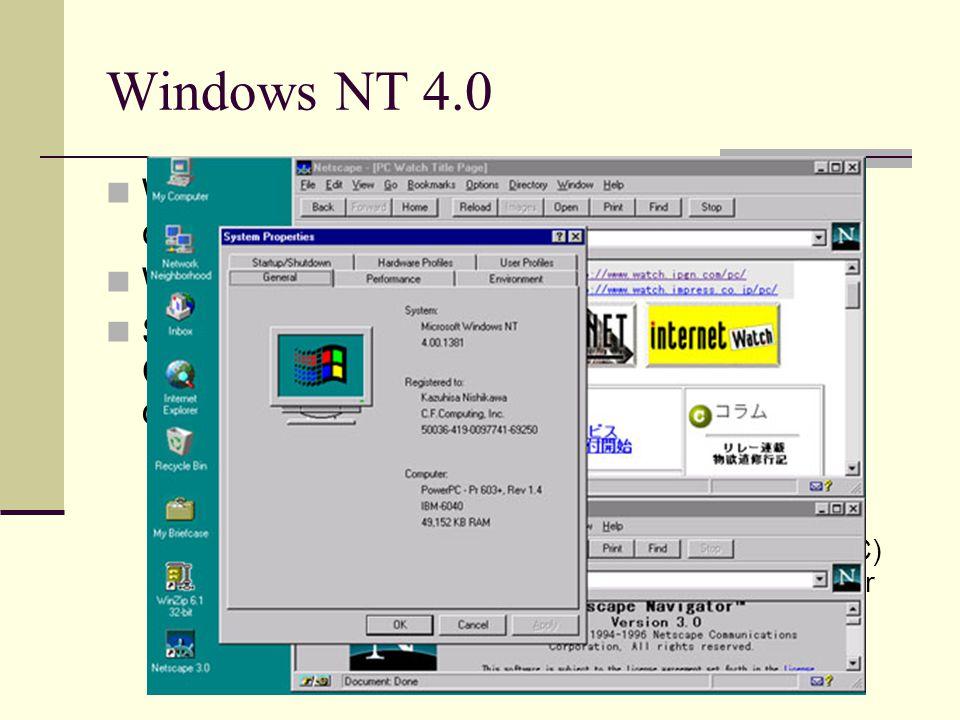 Windows NT 4.0 Windows for Workgroups 3.11'dan sonra çıkan bir ağ işletim sistemidir. Win 95'in arayüzüne sahiptir.