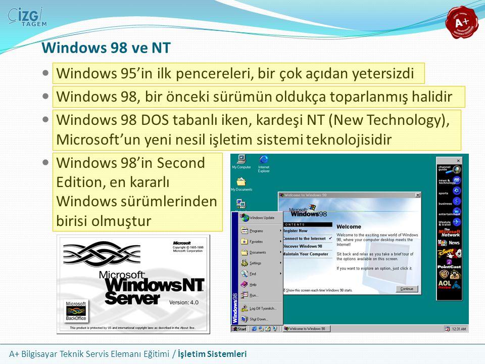 Windows 98 ve NT Windows 95'in ilk pencereleri, bir çok açıdan yetersizdi. Windows 98, bir önceki sürümün oldukça toparlanmış halidir.