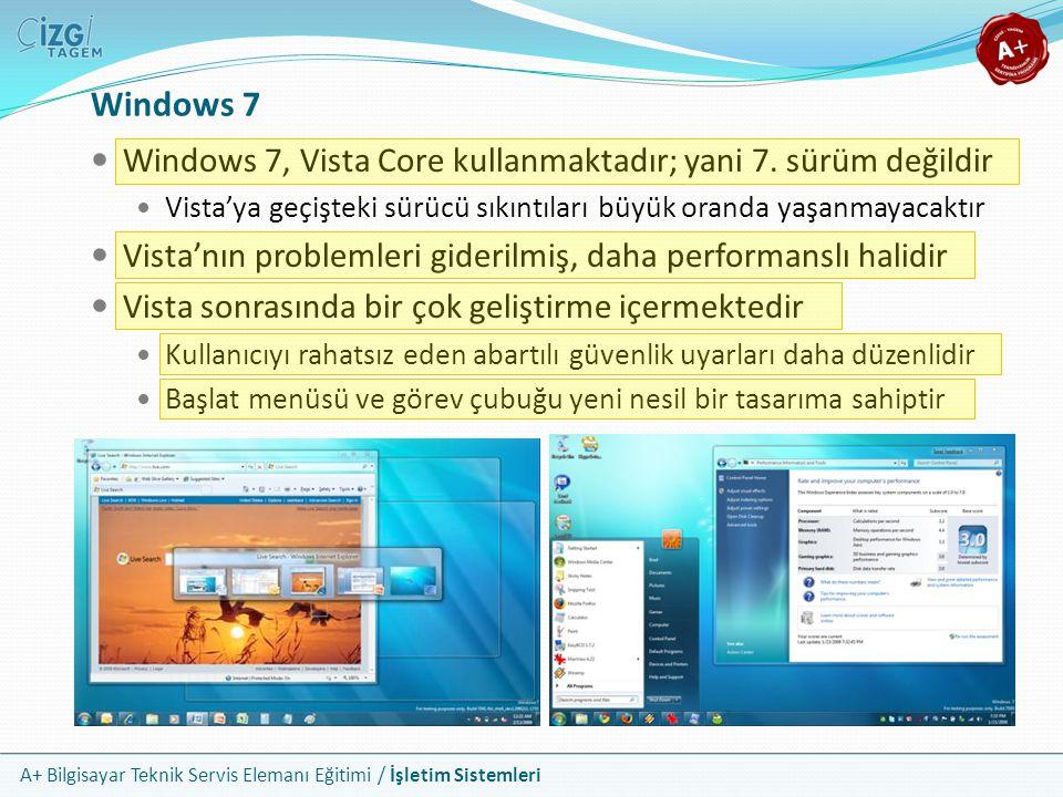 Windows 7 Windows 7, Vista Core kullanmaktadır; yani 7. sürüm değildir