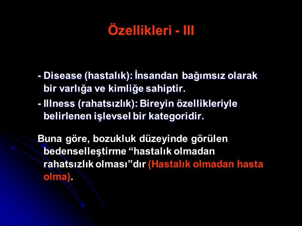 Özellikleri - III - Disease (hastalık): İnsandan bağımsız olarak bir varlığa ve kimliğe sahiptir.