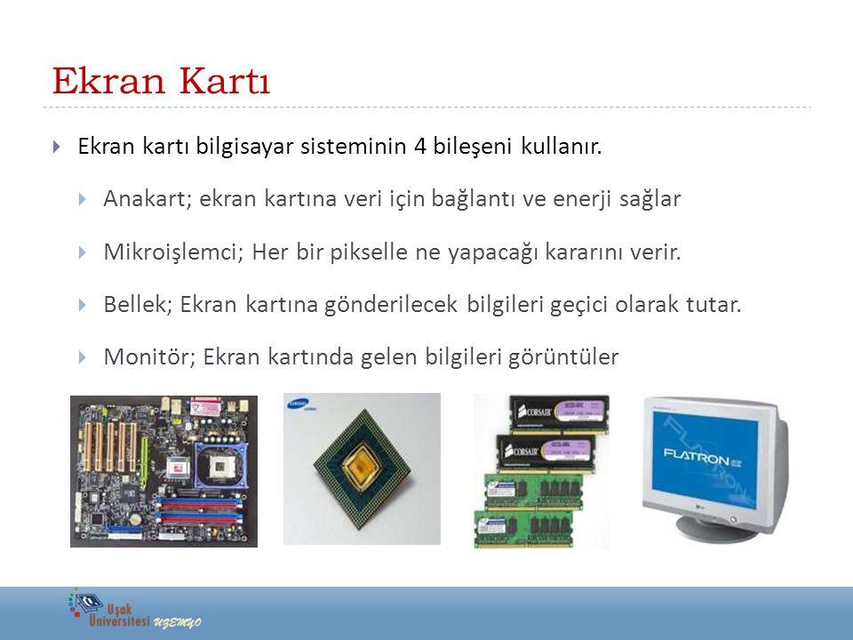 Ekran Kartı Ekran kartı bilgisayar sisteminin 4 bileşeni kullanır.