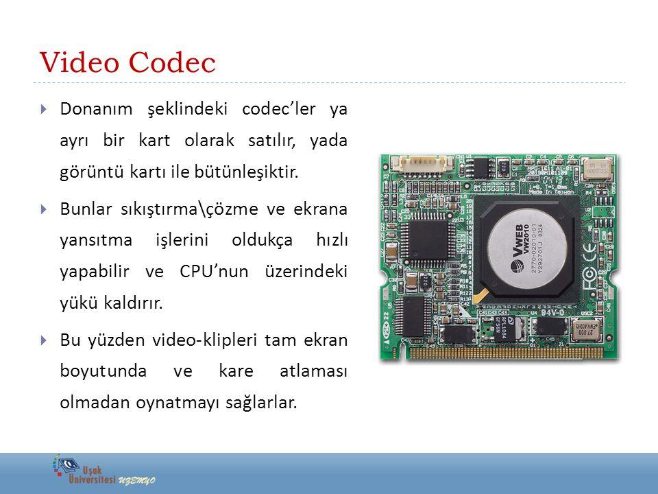 Video Codec Donanım şeklindeki codec'ler ya ayrı bir kart olarak satılır, yada görüntü kartı ile bütünleşiktir.
