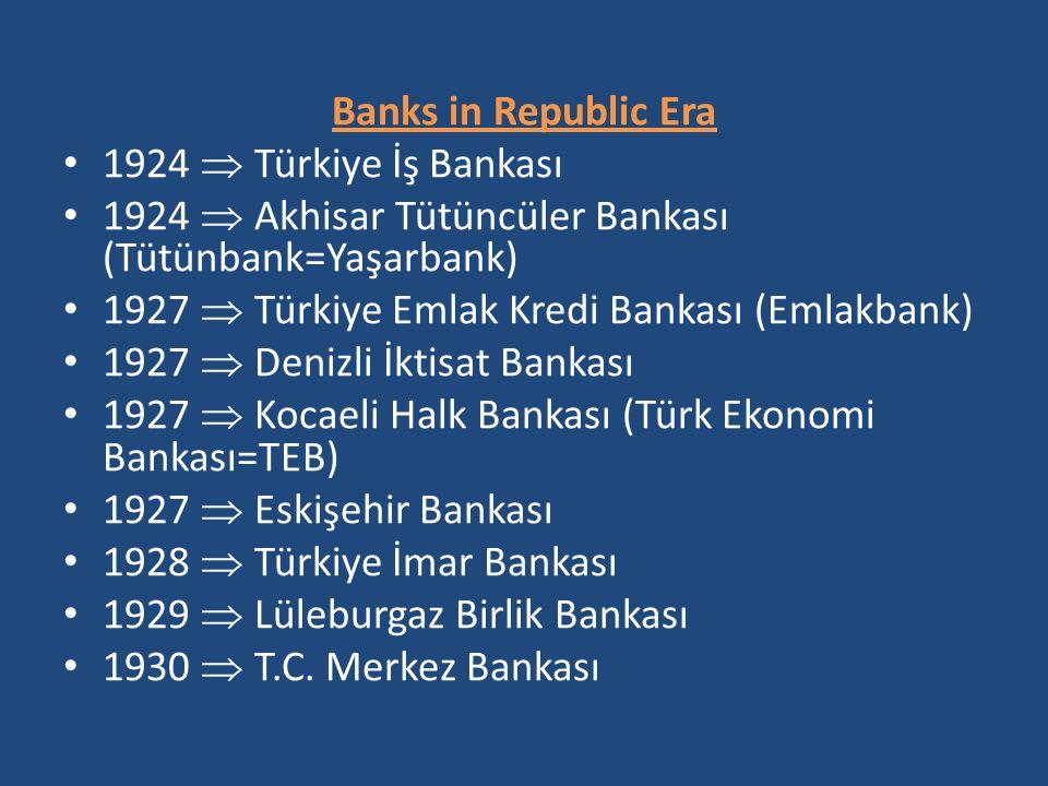 Banks in Republic Era 1924  Türkiye İş Bankası. 1924  Akhisar Tütüncüler Bankası (Tütünbank=Yaşarbank)
