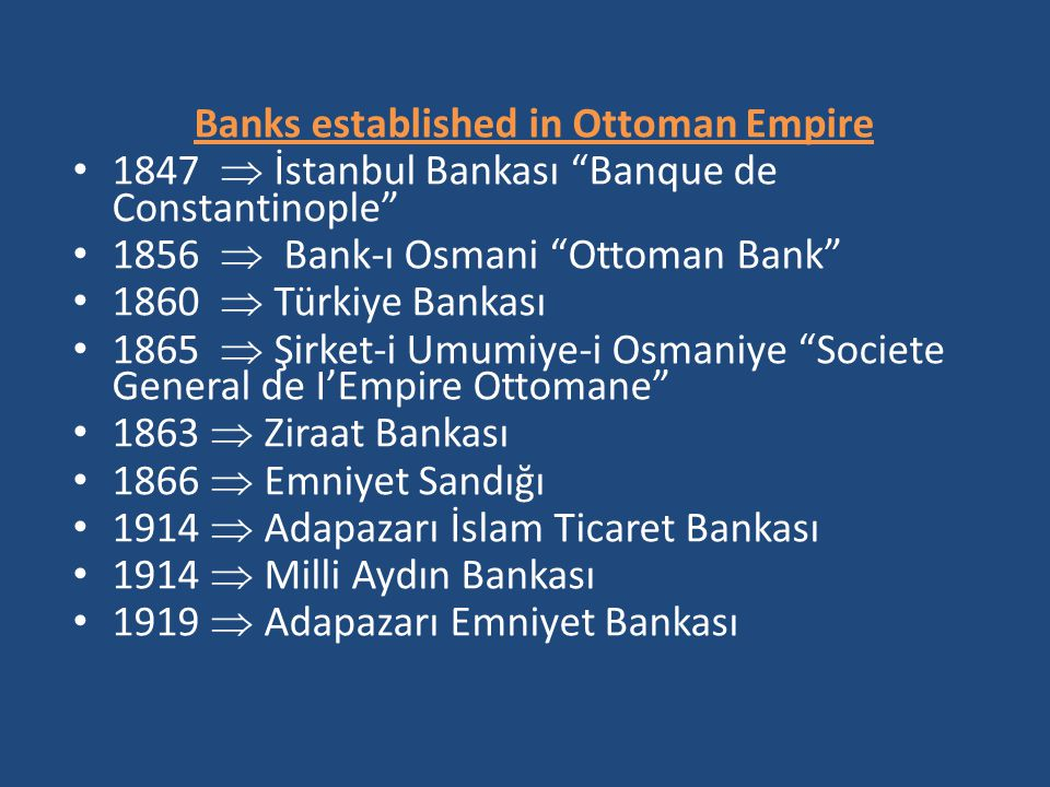 Banks established in Ottoman Empire
