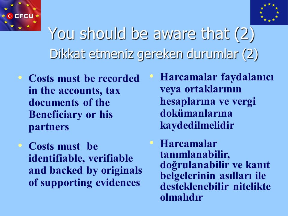 You should be aware that (2) Dikkat etmeniz gereken durumlar (2)